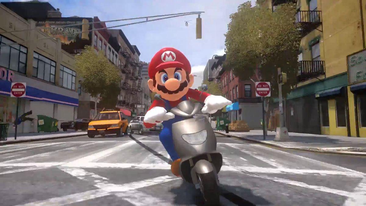 Super Real Mario Odyssey trailer - Mario on motorcycle