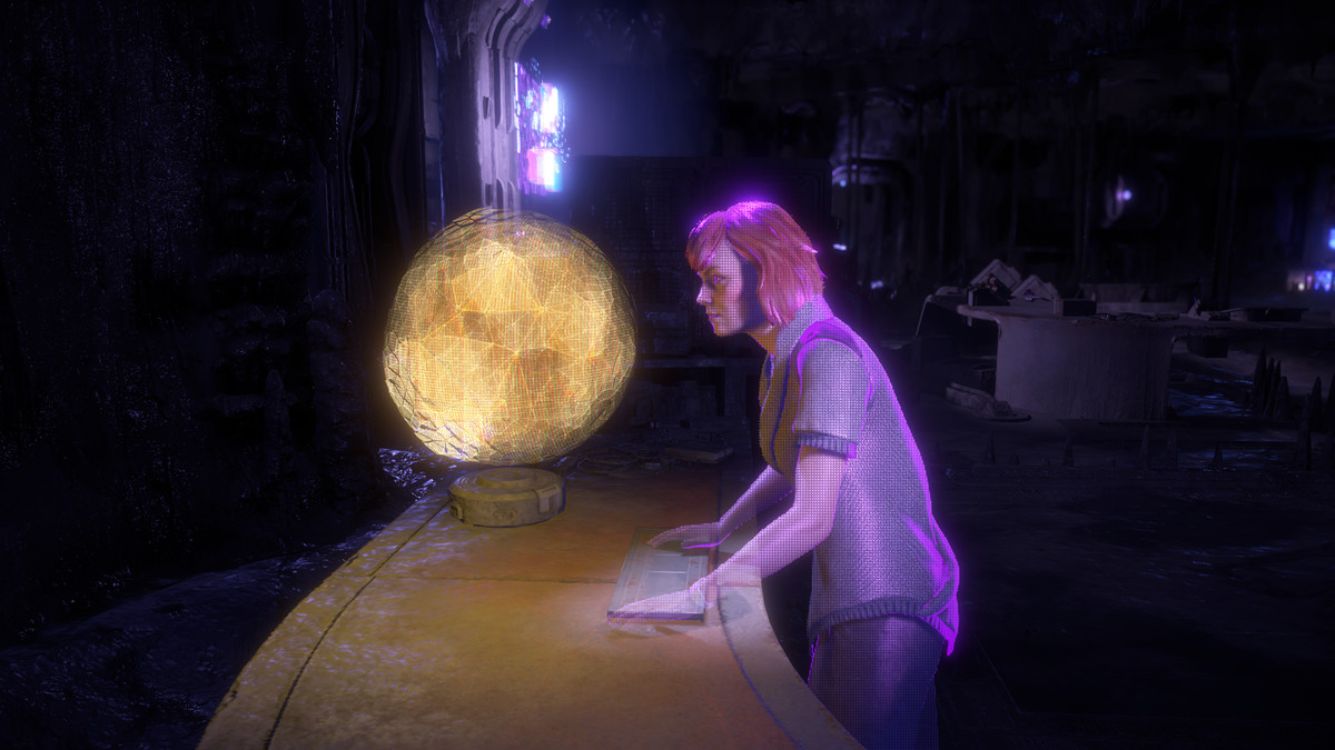 A holographic record of scientist Elisabet Sobeck speaking with an early version of the Gaia artificial intelligence.