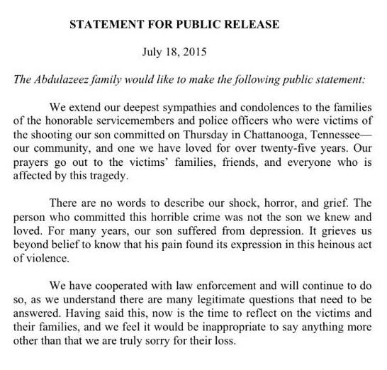 Abdulazeez family statement