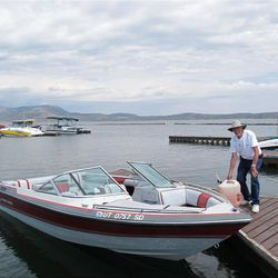 John Jones of Sandy gasses up his boat for a fishing excursion on Strawberry Reservoir.