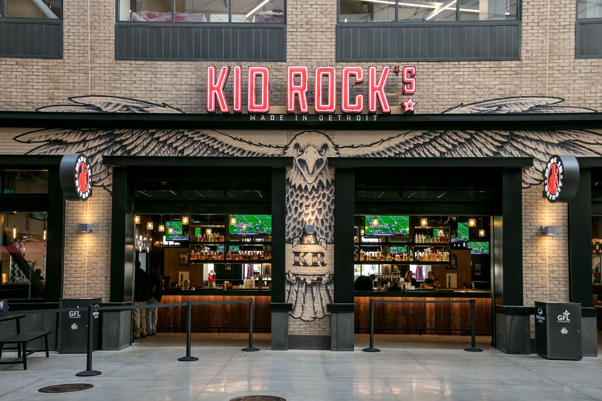 An eagle is painted below the red sign at the interior entrance to Kid Rock's Made in Detroit restaurant at the LCA.