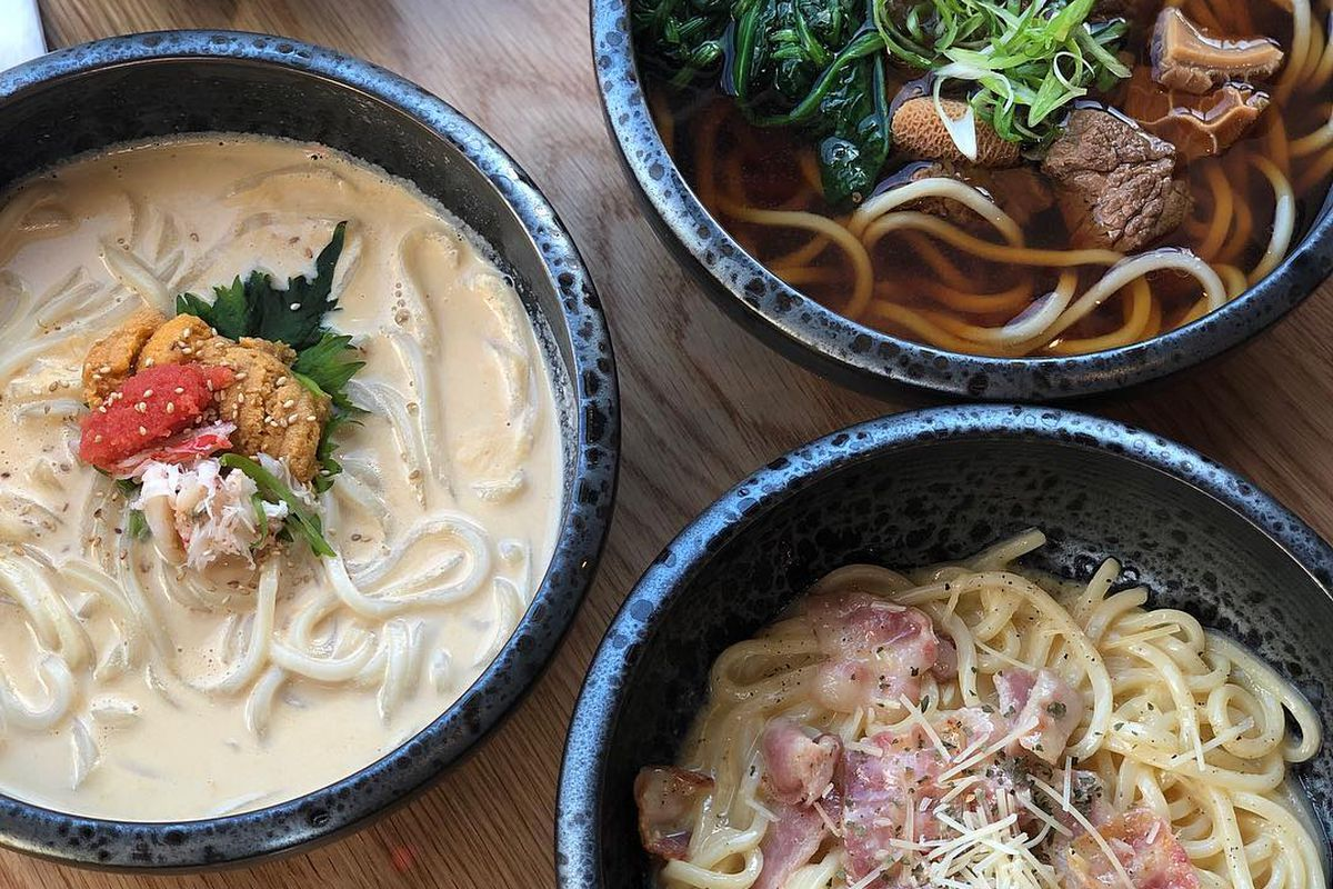 A variety of udon at Futago Udon