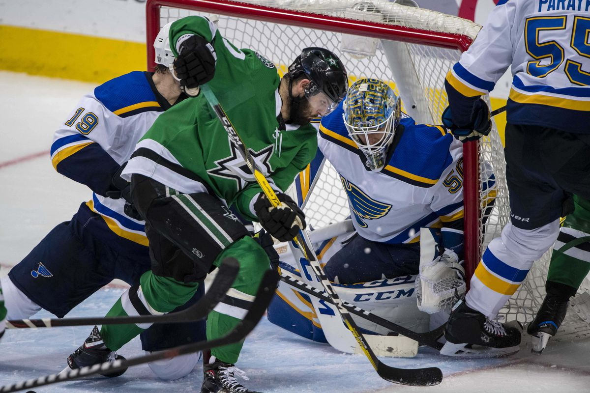 May 5, 2019; Dallas, TX, USA; Dallas Stars right wing Alexander Radulov (47) looks for the loose puck in front of St. Louis Blues goaltender Jordan Binnington (50) during the third period in game six of the second round of the 2019 Stanley Cup Playoffs at