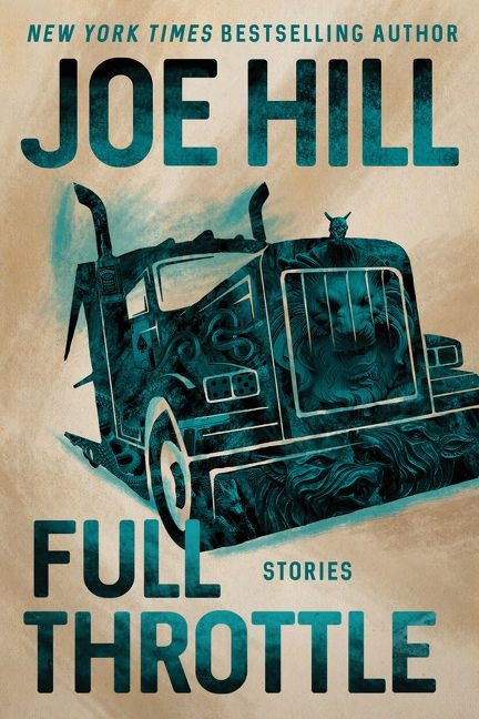 the cover for Full Throttle; a beige background, with a large Prussian blue truck