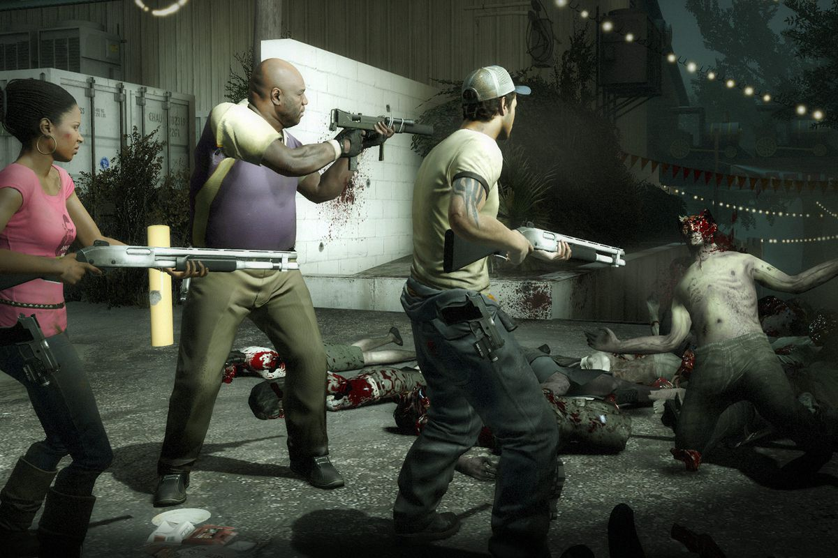 The whole gang is there in this Left 4 Dead screenshot, shooting zombies. Except the dude in the sport coat. No one likes him.