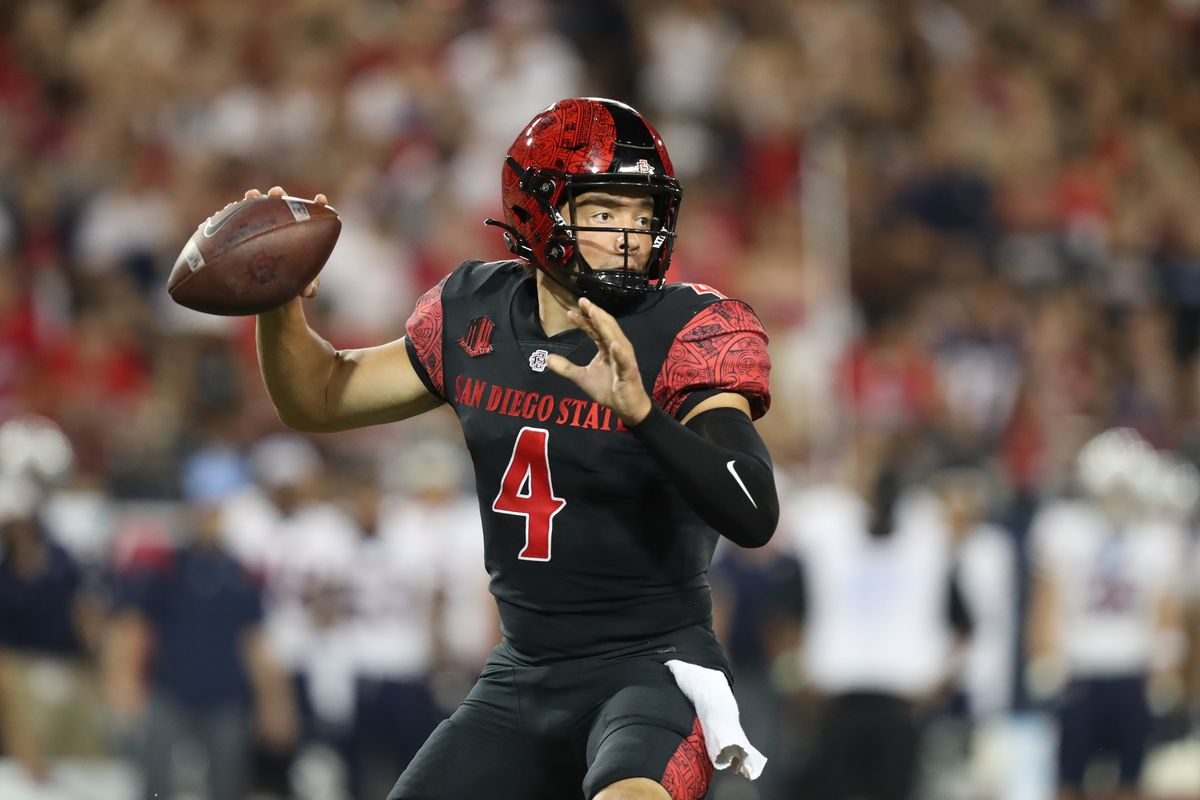 San Diego State Quarterback Jordon Brookshire passes during the first half of a college football game between the San Diego State University Aztecs and the University of Arizona Wildcats on September 11, 2021 at Arizona Stadium in Tucson, AZ.
