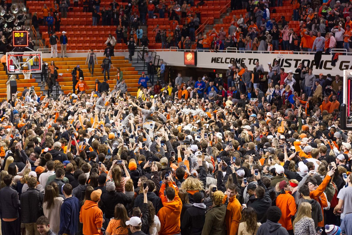 For the second straight road game, opposing fans rushed the court against Kansas.
