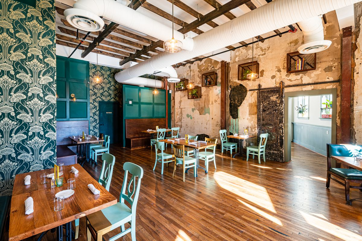 Some restaurants pay designers big bucks to patina walls, but Pennyroyal Station's preserved versions from the 1900s are the real deal.