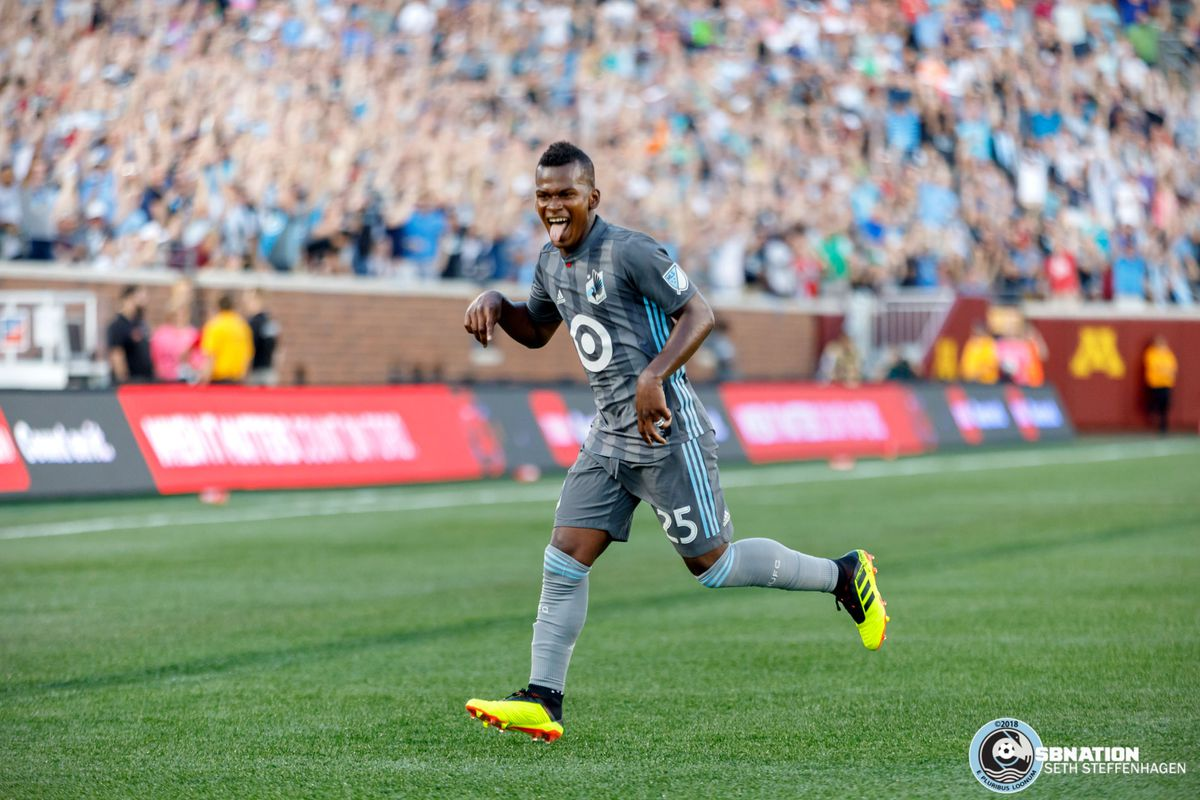 July 14, 2018 - Minneapolis, Minnesota, United States - Darwin Quintero celebrates after chipping the ball over Real Salt Lake goalkeeper Nick Rimando (18) to score a goal during the match at TCF Bank Stadium.