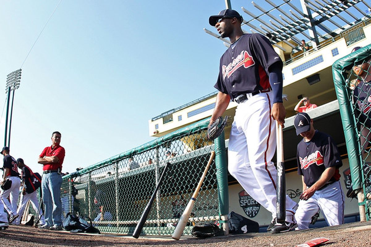 LAKE BUENA VISTA FL - FEBRUARY 21:  Jason Heyward #22 of the Atlanta Braves walks out to practice during a spring training workout at Champion Stadium on February 21 2011 in Lake Buena Vista Florida.  (Photo by Mike Ehrmann/Getty Images)