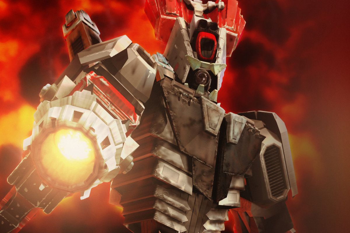 A mech from Total Annihilation aims a gun at the camera