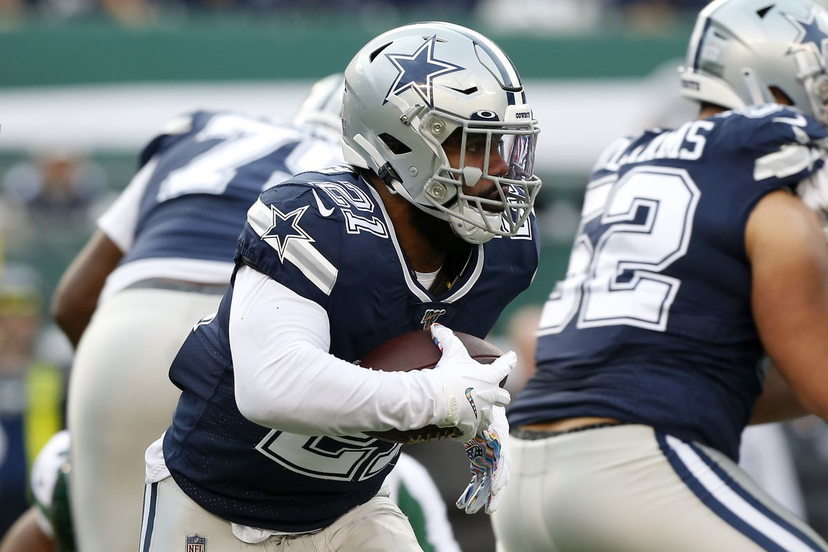 Ezekiel Elliott of the Dallas Cowboys in action against the New York Jets at MetLife Stadium on October 13, 2019 in East Rutherford, New Jersey.