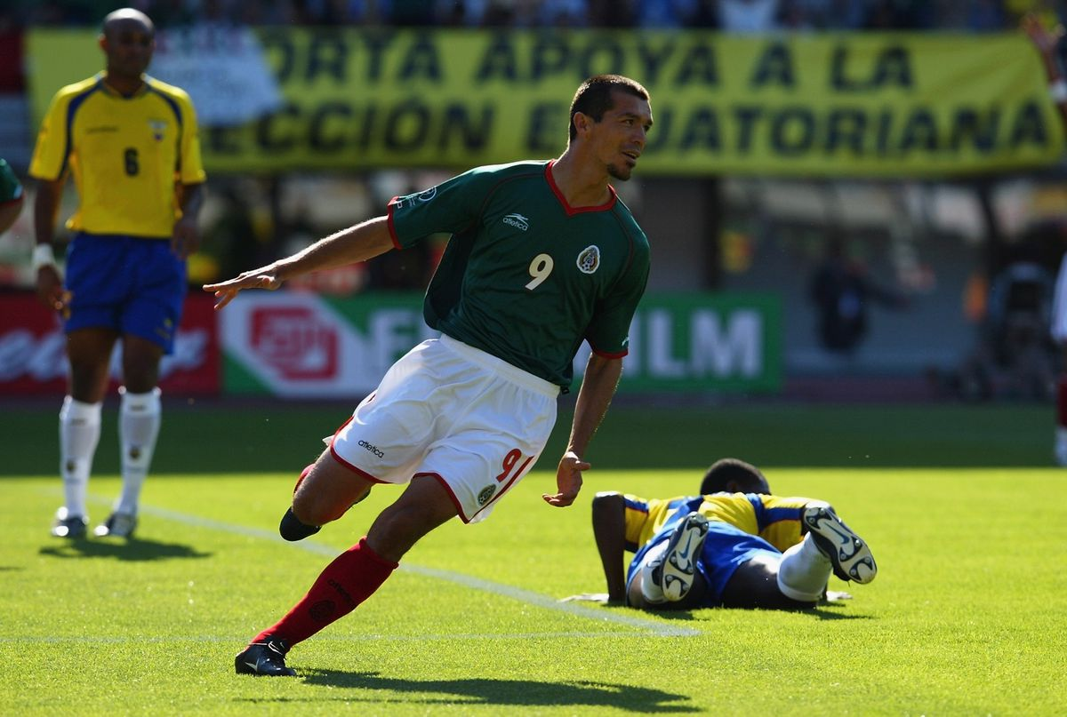 Jared Borgetti of Mexico celebrates after scoring the first goal