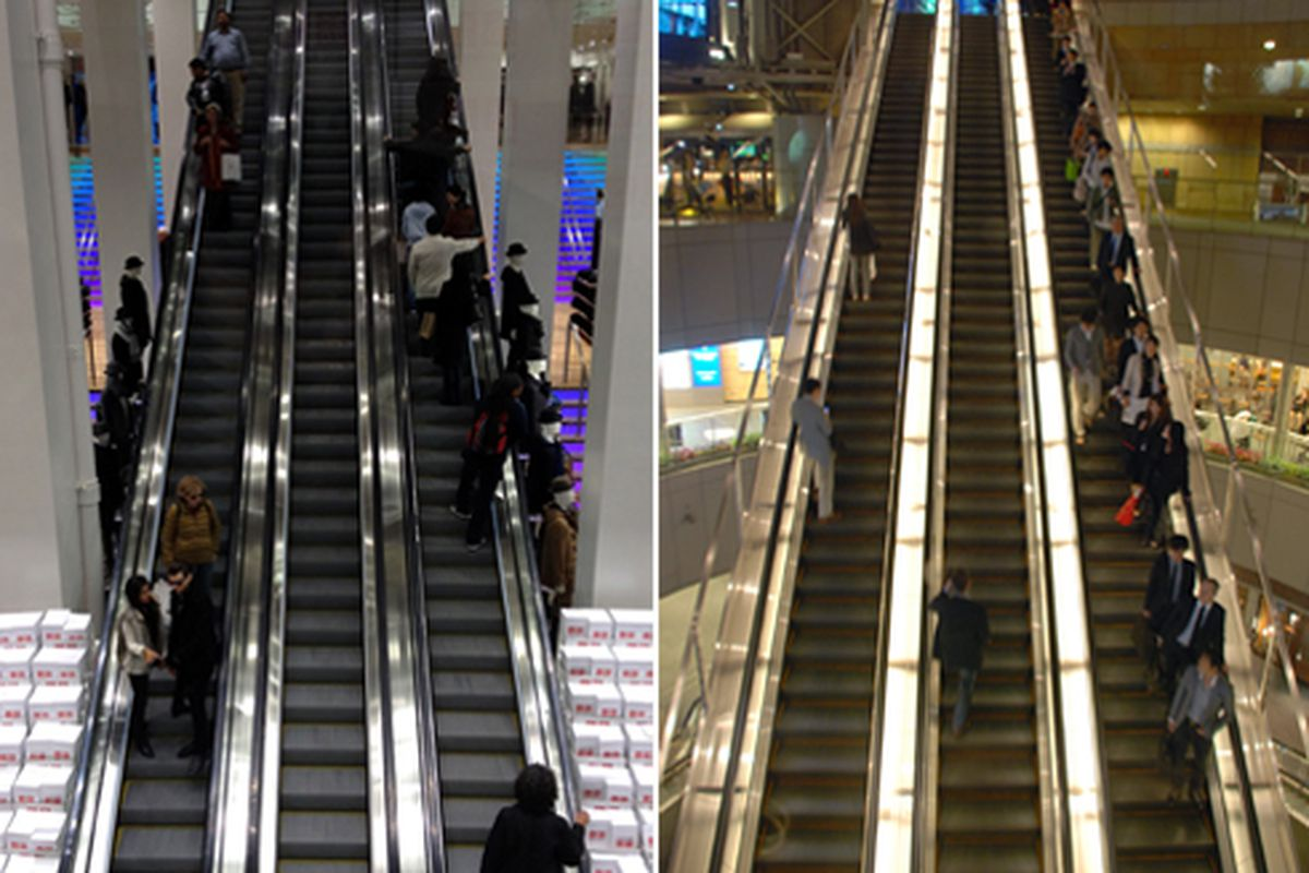 Uniqlo at left, Roppongi right. Both photos by the author.