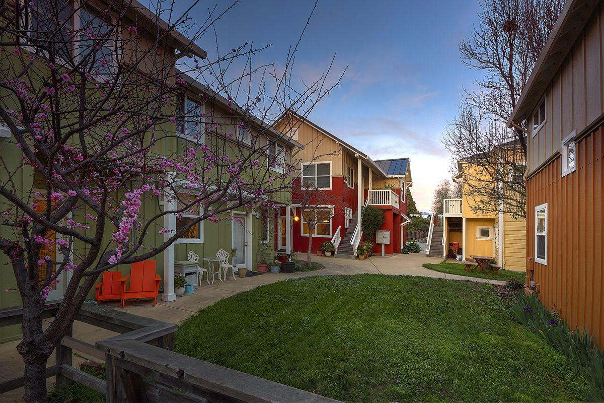 The colorful courtyard of a cohousing community