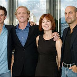 """From left, Ryan Merriman, James Redford, Dana Delany and Stanley Tucci at the premiere of """"Spin"""" in Provo."""