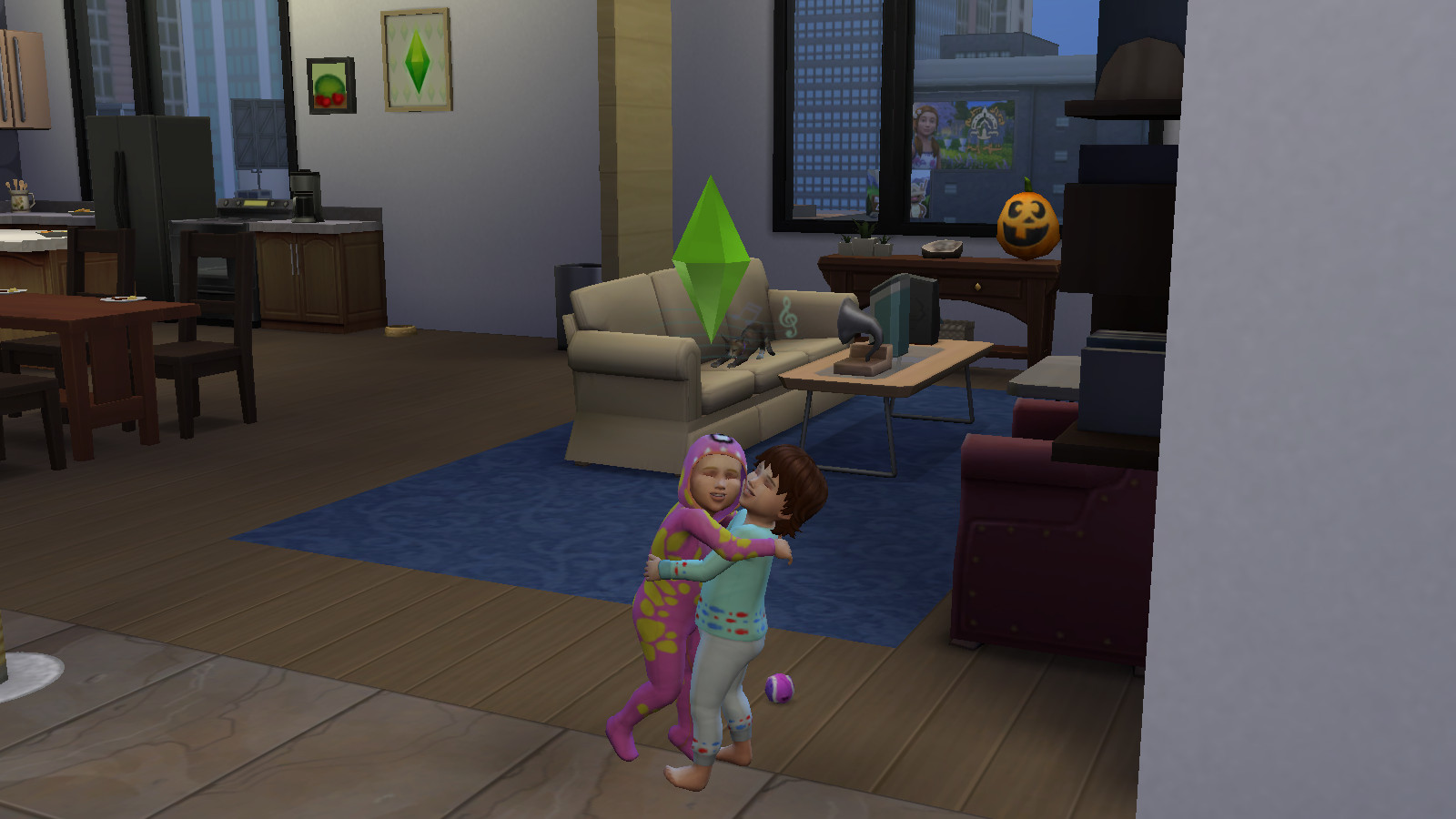 two sim toddlers hug each other