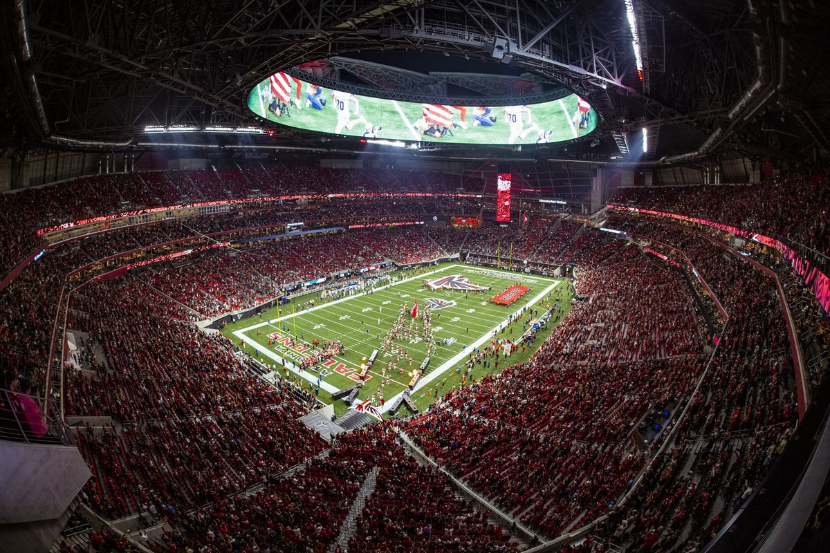General view of the Atlanta Falcons taking the field prior to a game against the Philadelphia Eagles at Mercedes-Benz Stadium on September 15, 2019 in Atlanta, Georgia.