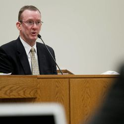 Utah County Sheriff's Sgt. Spencer Cannon, a former investigator with the state medical examiner's office, testifies during the trial of Martin MacNeill in Provo's 4th District Court on Tuesday, Nov. 5, 2013. MacNeill is charged with murder in the 2007 death of his wife, Michele MacNeill.