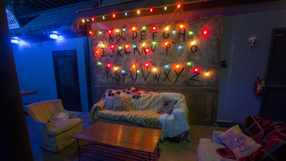 An eerie couch with holiday lights.