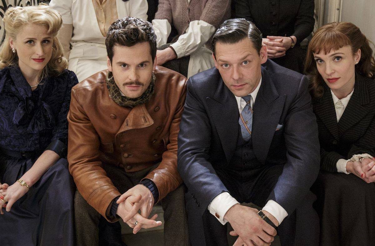 Mamie Gummer as Helen Sabine, Tom Riley as Claude Sabine, and Richard Coyle as Paul Sabine on The Collection.