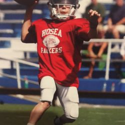 Beau Hoge playing quarterback as a youngster.