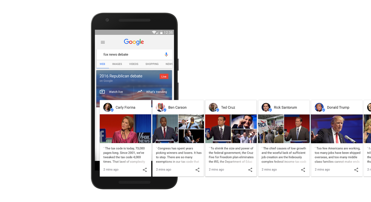"""Google's test """"Google Posts"""" with Presidential candidates."""