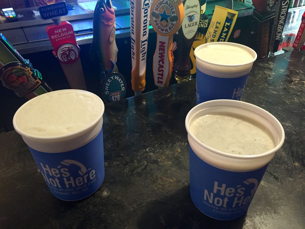 Famous 32-ounce Blue Cups at He's Not Here