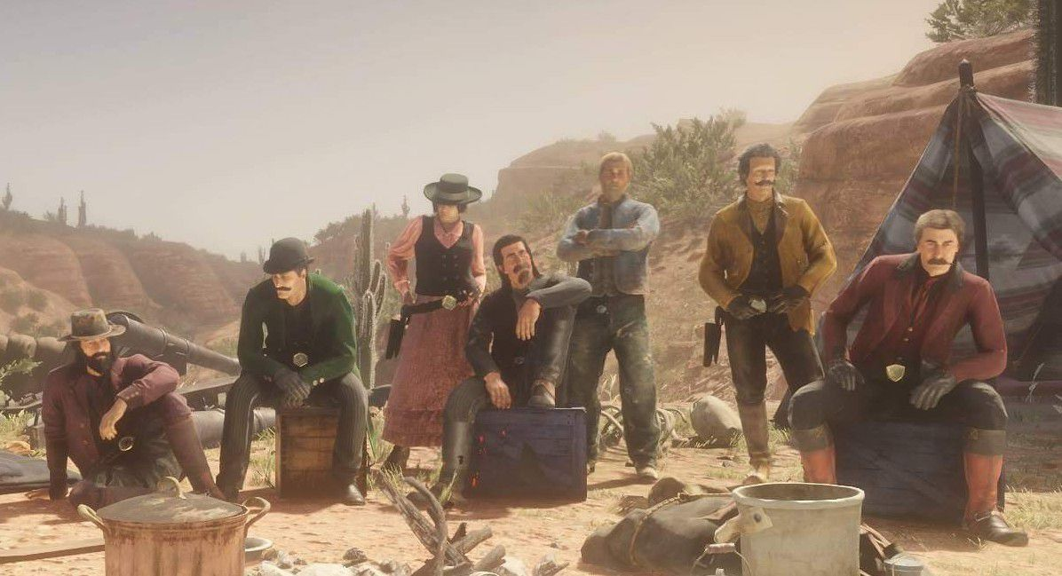 Red Dead Online - players assembled in a camp