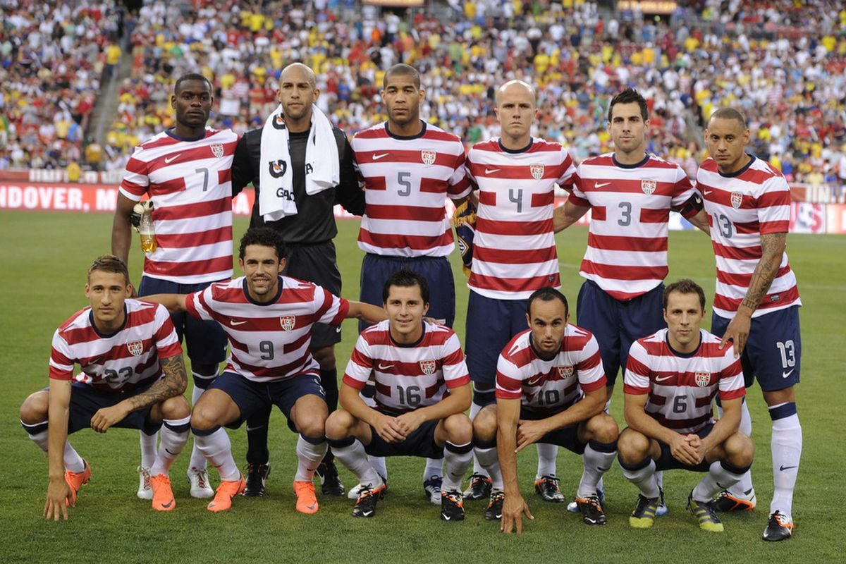 May 30, 2012; Landover, MD, USA; The US men's national team poses for the team picture prior to the first half of a men's international friendly match against Brazil at FedEx Field.  Mandatory Credit: Rafael Suanes-US PRESSWIRE