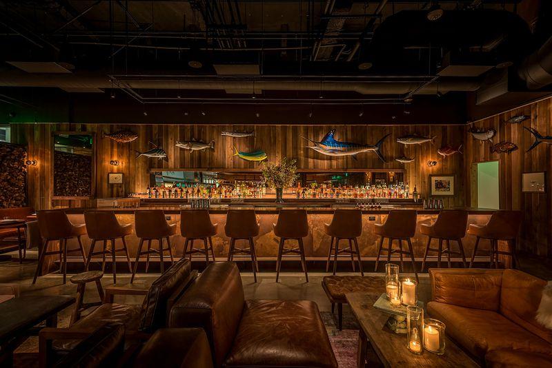 Angler Los Angeles bar wooden dim lighting