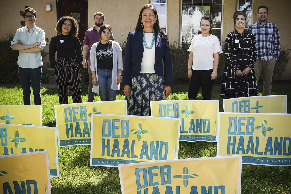 Deb Haaland made history on Tuesday by becoming one of the first Native American woman elected to Congress. She's seen here with her staff in Albuquerque, New Mexico.