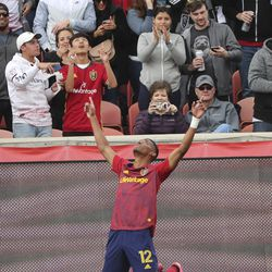 Real Salt Lake forward Douglas Martinez (12) celebrates a goal that was later waved off due to a hand ball in Sandy on Saturday, March 7, 2020. RSL tied with New York 1-1.