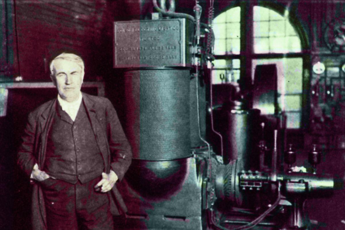 Edison in his laboratory