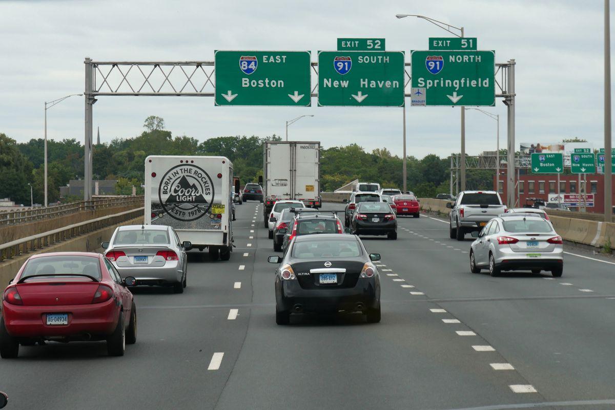 Heavy Interstate traffic coming into Boston.