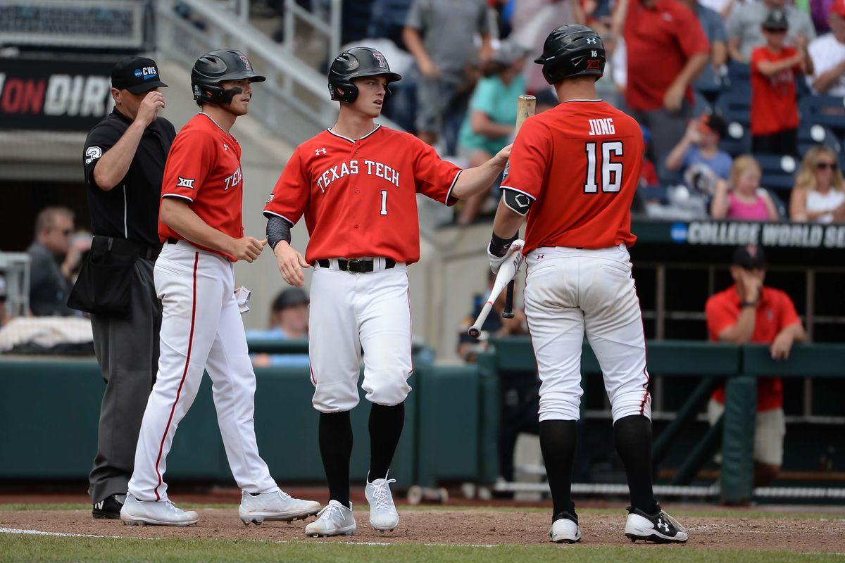 NCAA Baseball: College World Series-Arkansas vs Texas Tech