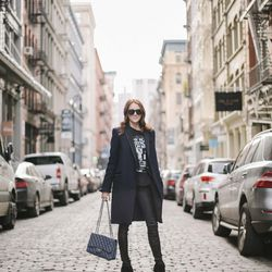 """Samantha of <a href=""""http://www.couldihavethat.com""""target=""""_blank"""">Could I Have That?</a> is wearing a Tommy Hilfiger coat, a R13 shirt, <a href=""""http://www.shopbop.com/stretch-leather-pant-helmut-lang/vp/v=1/845524441913000.htm?folderID=2534374302046323&"""