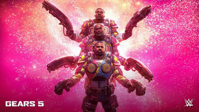 Promotional image showing the three members of the WWE's The New Day tag-team, in Cog Armor, all three in a row.