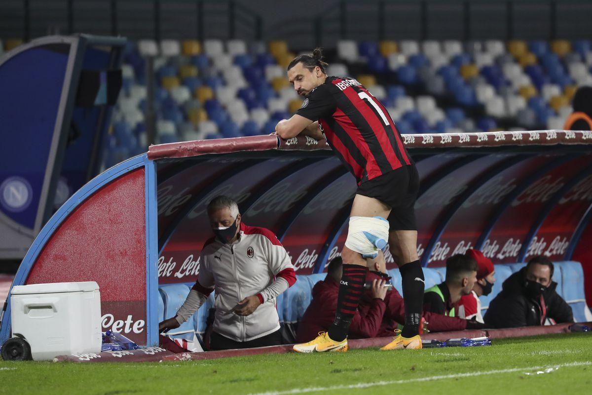AC Milan's Swedish forward Zlatan Ibrahimovic is next of his...