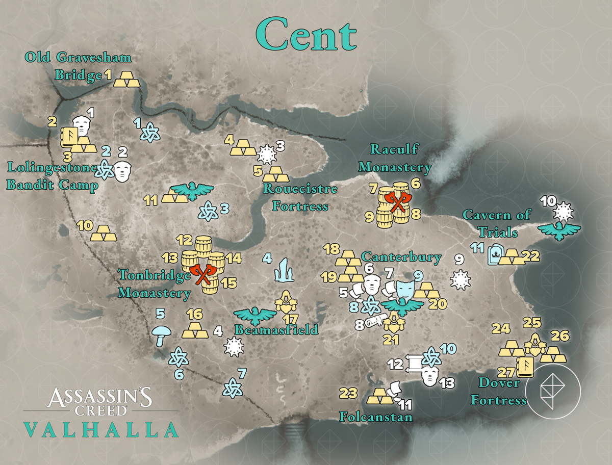 Cent Wealth, Mysteries, and Artifacts locations map
