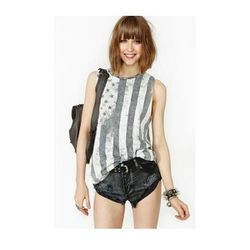 """<b>Nasty Gal</a> <a href=""""http://www.nastygal.com/product/faded-flag-muscle-tee/_/searchString/flag"""">Faded Flag Muscle Tee</a>, $28"""