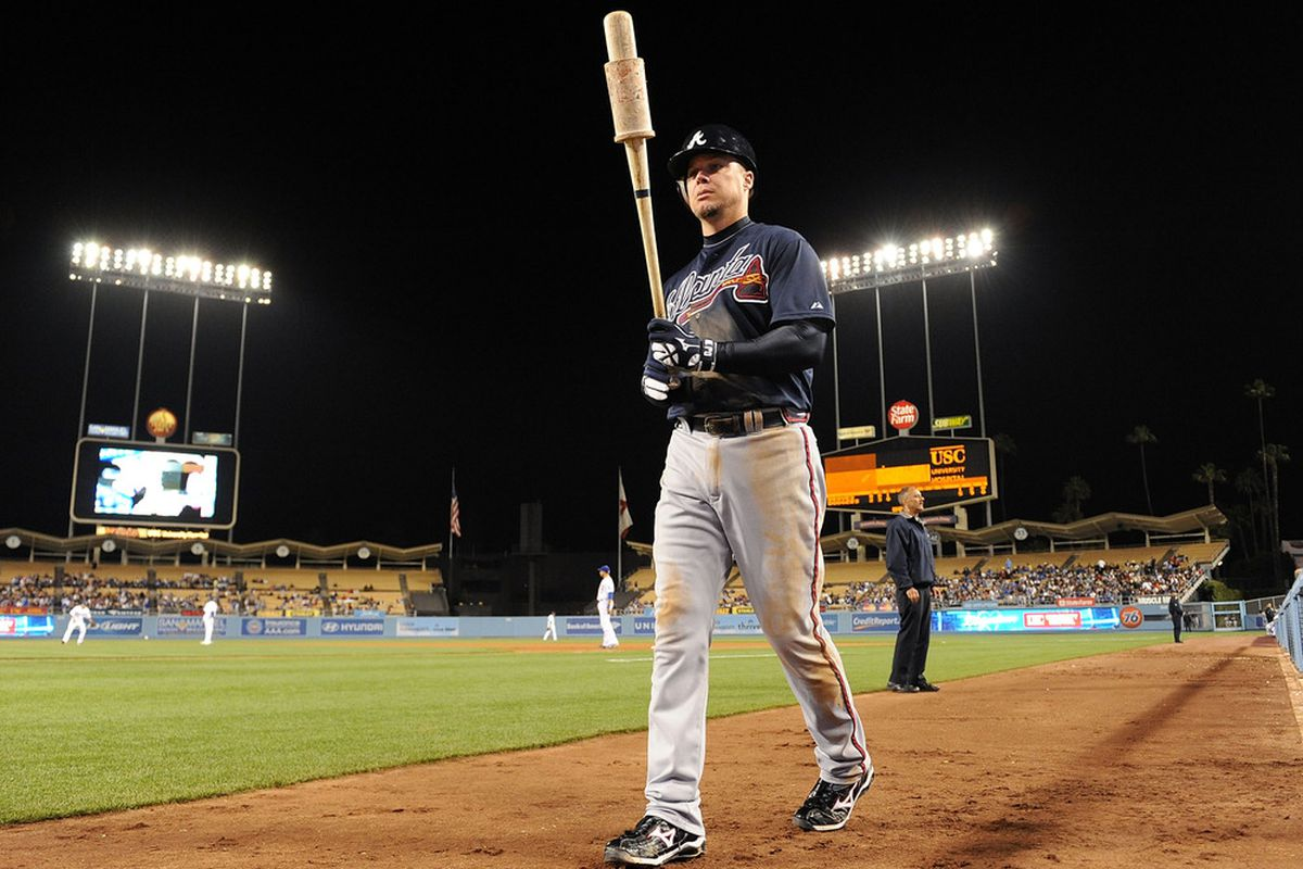 LOS ANGELES, CA - APRIL 20:  Chipper Jones #10 of the Atlanta Braves prepares to bat against the Los Angeles Dodgers at Dodger Stadium on April 20, 2011 in Los Angeles, California.  (Photo by Lisa Blumenfeld/Getty Images)