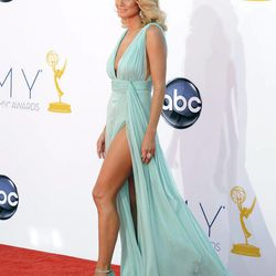 Model Heidi Klum arrives at the 64th Primetime Emmy Awards at the Nokia Theatre on Sunday, Sept. 23, 2012, in Los Angeles.