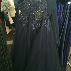 Blue beaded tulle gown, $1,200