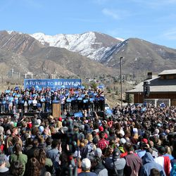 Democratic candidate for president Sen. Bernie Sanders of Vermont gives a speech to supporters at This is the Place Heritage Park in Salt Lake City, Friday, March 18, 2016.