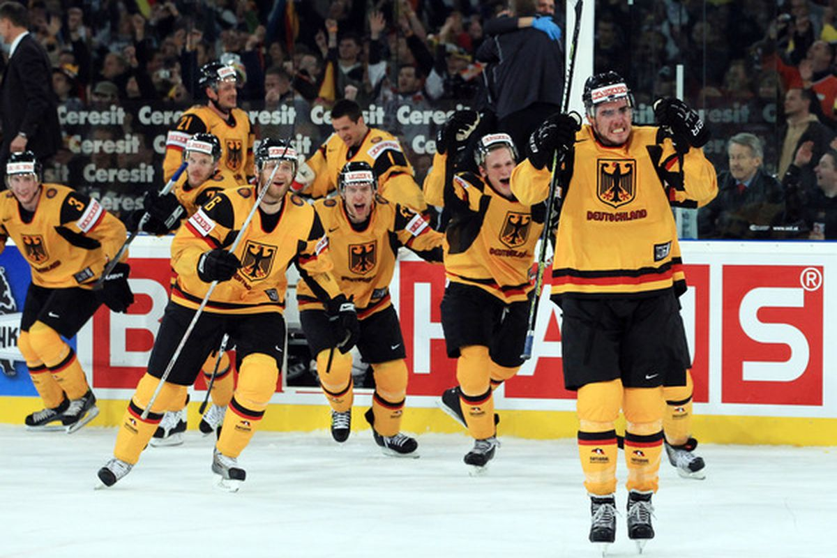Constatin Braun of Germany celebrates  after the IIHF World Championship group D match between USA and Germany (Photo by Martin Rose/Bongarts/Getty Images)