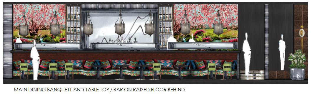 A rendering of the dining room and bar at NaRa-Ya