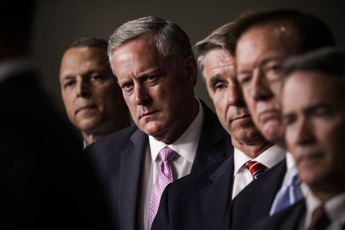 House Freedom Caucus Chairman Rep. Mark Meadows (R- NC), second from left, and others, participates in a news conference on Capitol Hill on July 12, 2017.