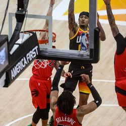 Utah Jazz guard Jordan Clarkson (00) shoots the ball over the Toronto Raptors during an NBA basketball game at Vivint Smart Home Arena in Salt Lake City on Saturday, May 1, 2021.