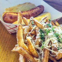 Hot dog with truffle fries at Lexie's Joint